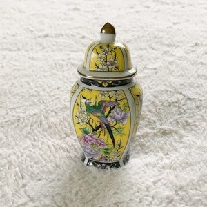 Tiny Japanese Floral Peacock Container